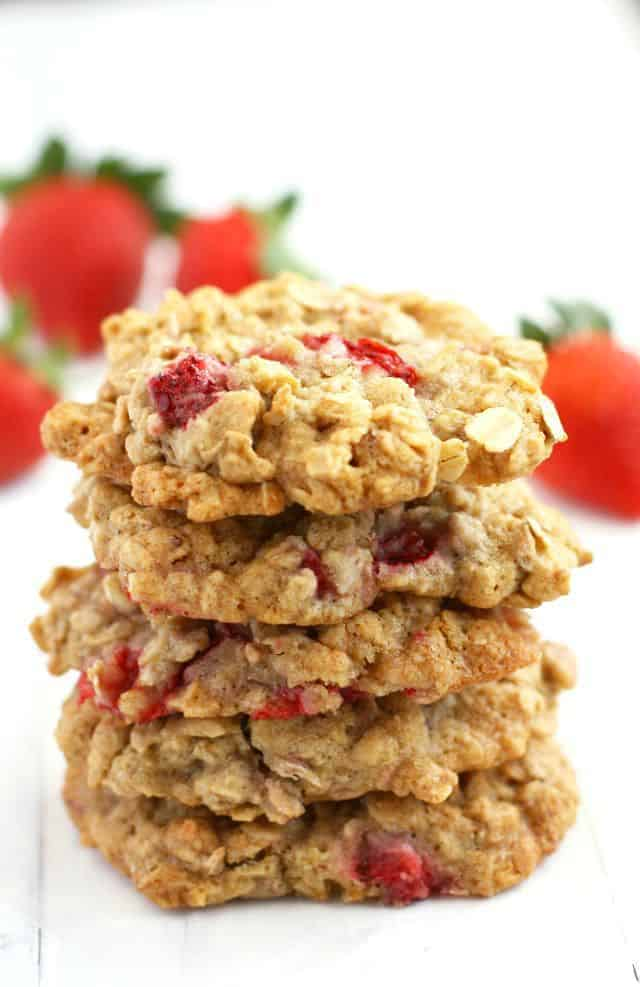 Chewy, yummy oatmeal cookies with delicious fresh strawberries throughout. So scrumptious! Free of the top 8 allergens. #glutenfree #vegan