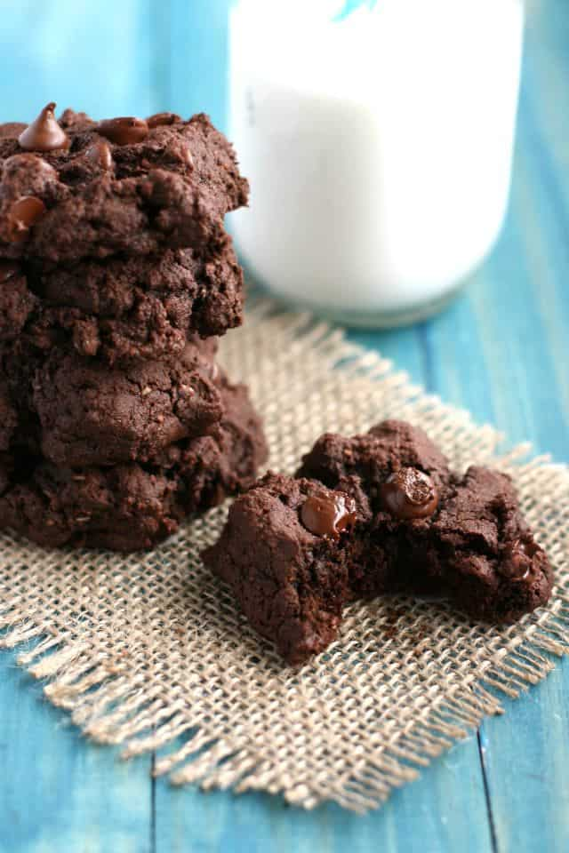 Rich, thick, chocolatey double chocolate fudge cookies with a secret healthy ingredient! Gluten free and vegan.