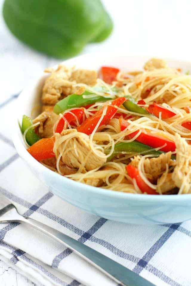 Super thin rice noodles covered in flavorful teriyaki sauce. This is comfort food at its best!