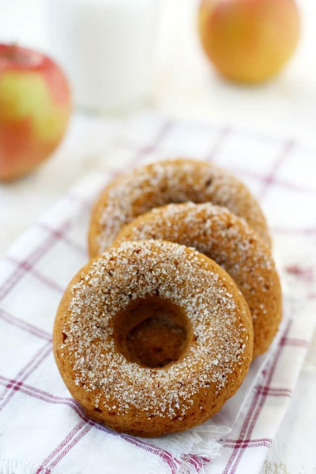 Nothing says fall like fresh baked donuts! These are extra delicious with apple cider and spices in the batter. A perfect treat for fall!