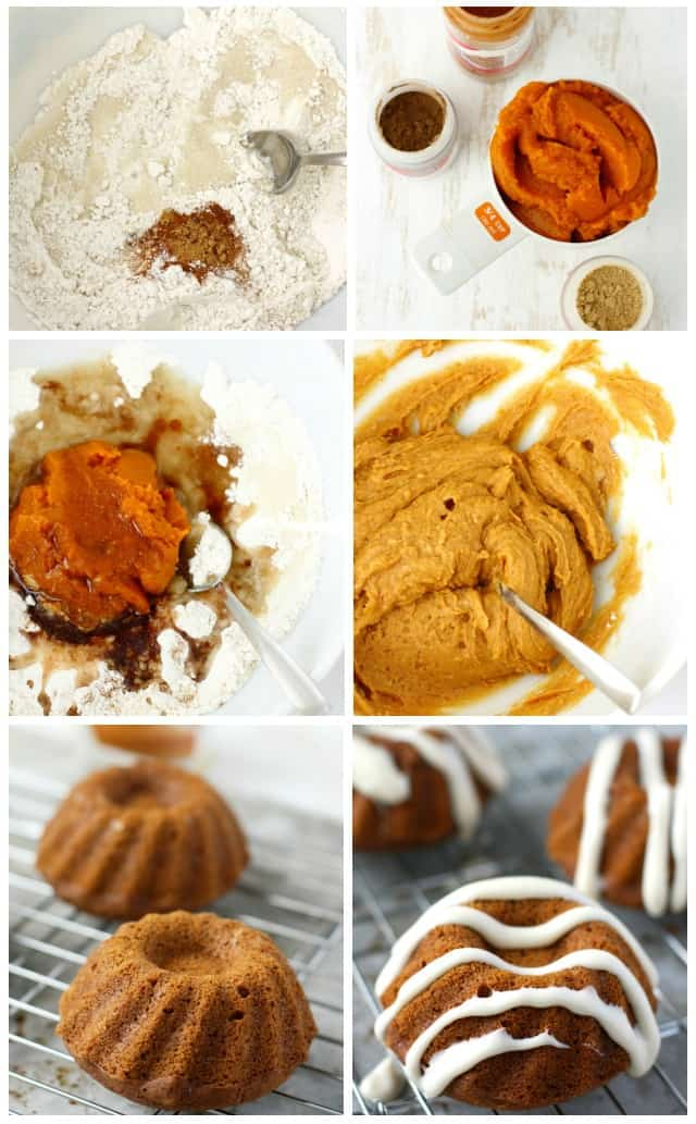 These pumpkin spice mini bundt cakes are so delicious - the sweet cream cheese glaze is the perfect finishing touch! #vegan #glutenfree AD #shop