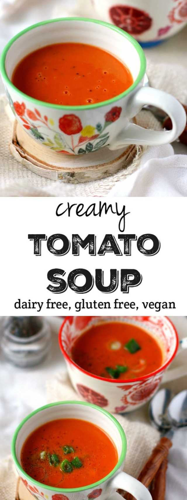 Creamy, comforting, delicious tomato soup made dairy free! This version is so much better than anything you can buy in the store! #dairyfree
