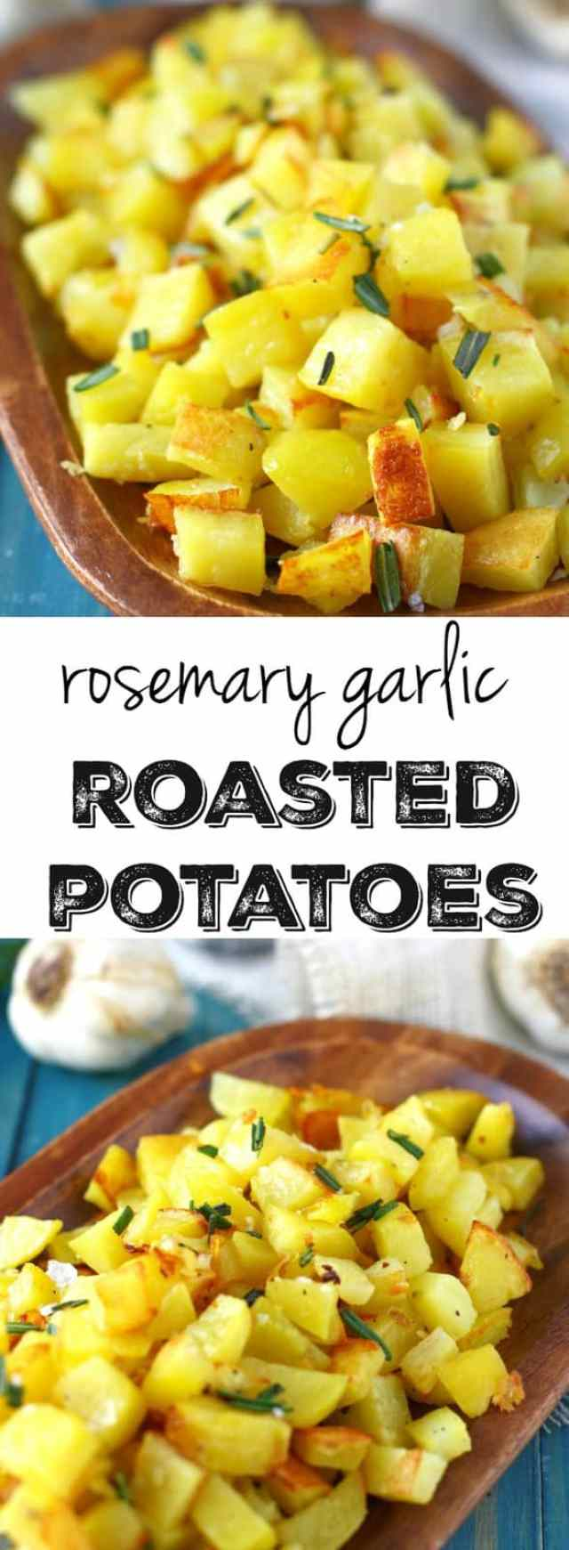 Roasted potatoes with garlic and rosemary are so delicious and very easy to make! The garlic and rosemary gives these a wonderful flavor! This dish is a real crowd pleaser.