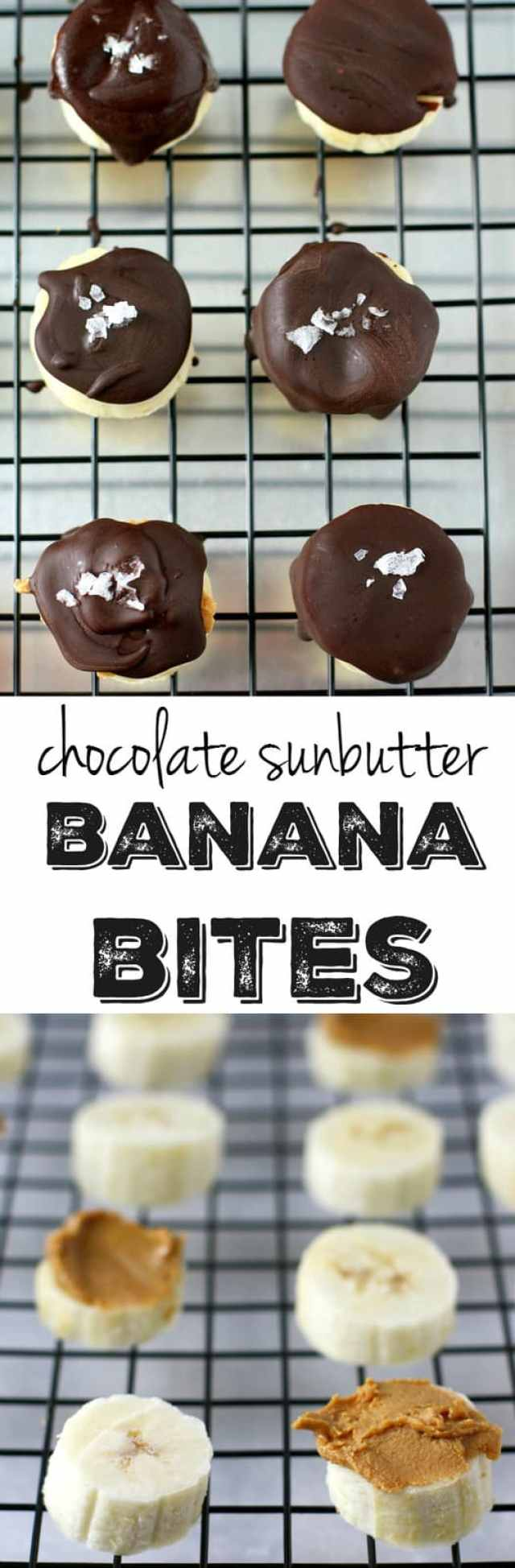 So easy! Banana slices are topped with sunbutter, chocolate, and a sprinkle of sea salt, then are frozen for a a healthy, delicious treat!