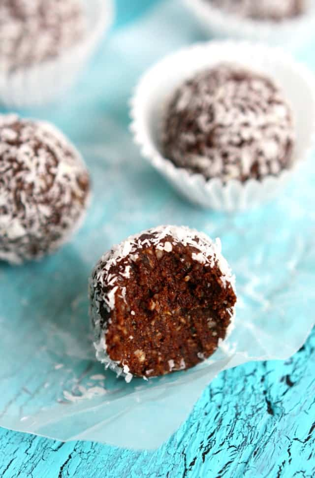 Coconut chocolate energy bites are just right for a mid-day snack! Grain free, vegan, and Paleo friendly!