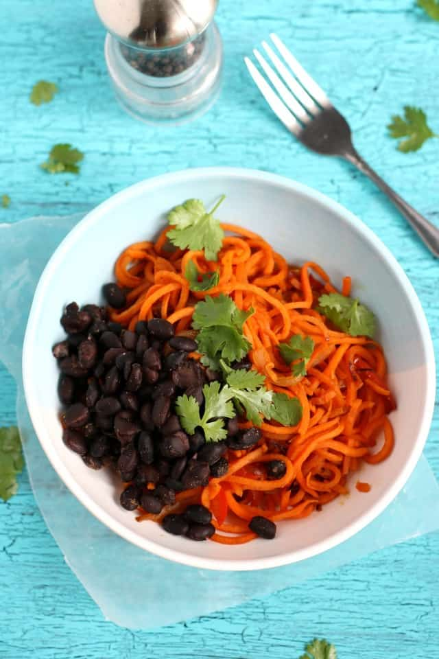 These southwest sweet potato noodles are easy, tasty, and healthy! Gluten free and vegan.