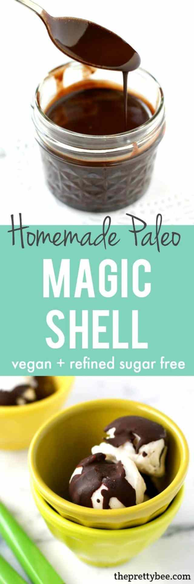 Simple, delicious homemade magic shell topping - this recipe is Paleo, refined sugar free, and vegan!