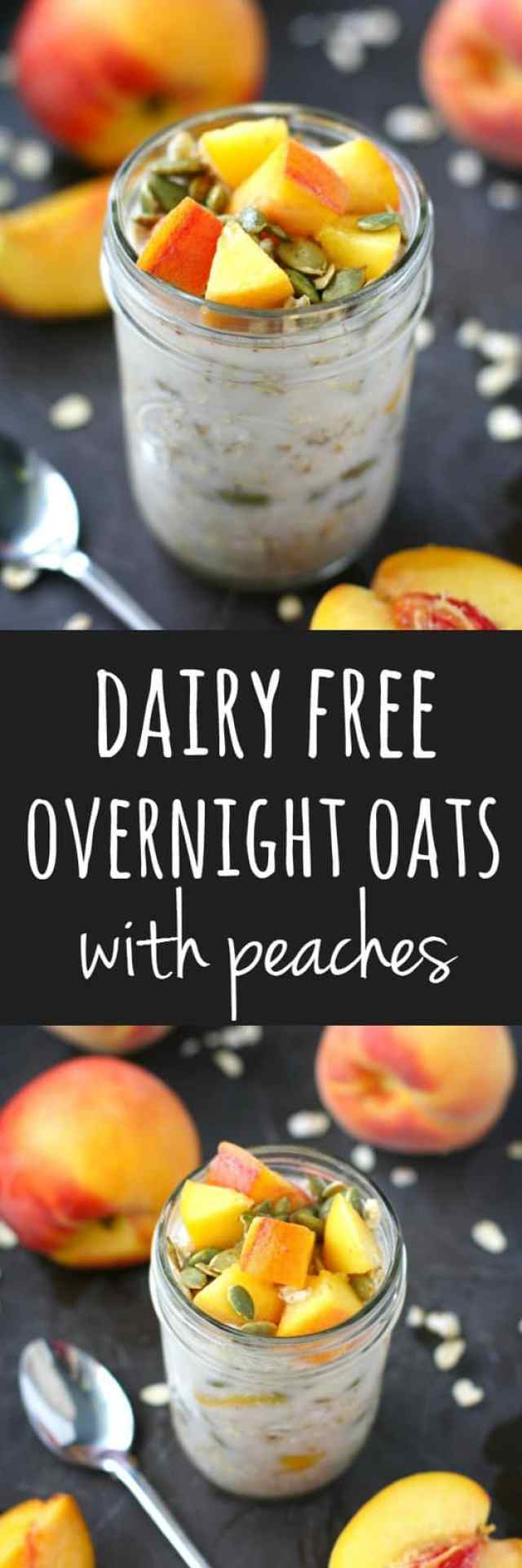 Creamy dairy free overnight oats are topped with fresh peaches for a delicious and healthy breakfast.