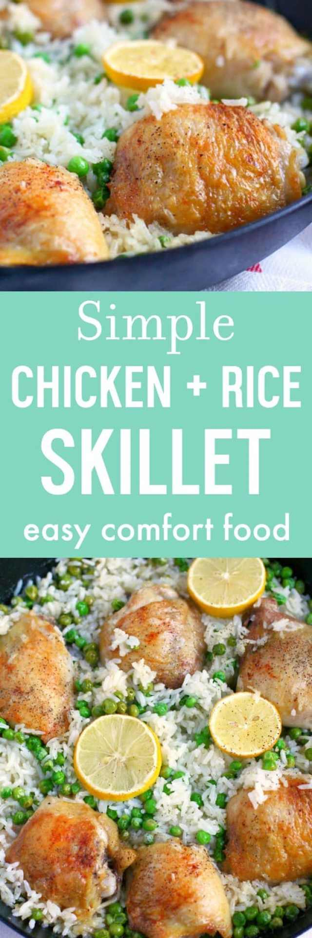 Simple and comforting skillet chicken and rice is a family friendly gluten free meal.