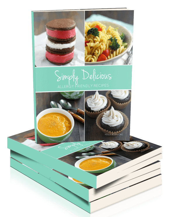 Simply Delicious Allergy Friendly Recipes is a print cookbook full of delicious, easy recipes that are free of the top 8 allergens. This cookbook is the perfect way to get started with allergy friendly cooking and baking.