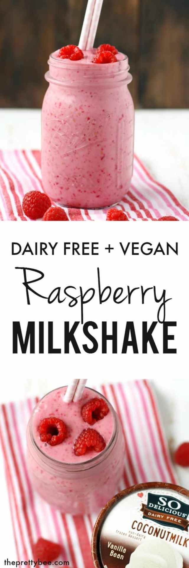 A creamy and delicious dairy free raspberry milkshake with a secret healthy ingredient! #ad #WellnessYourWay @So_Delicious @Kroger