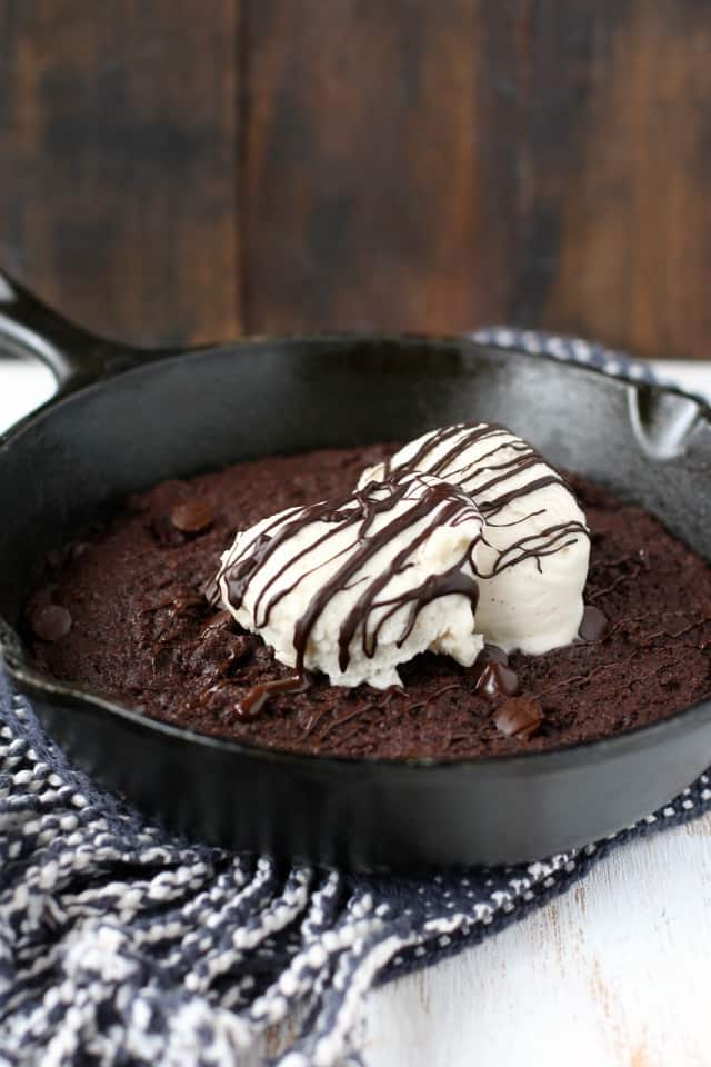 A decadent and delicious gluten free and vegan skillet brownie is just right for a special occasion!
