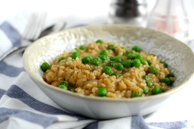 Creamy and comforting brown rice risotto is the perfect dairy free and vegan meal for cold weather!