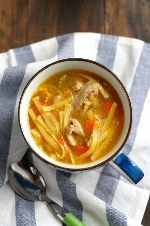 Easy and delicious homemade chicken noodle soup is a great recipe for when you're under the weather. Cozy and comforting!