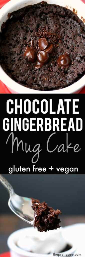 Chocolate gingerbread mug cake is a delicious way to treat yourself! Enjoy this vegan and gluten free single serving dessert - you deserve it!