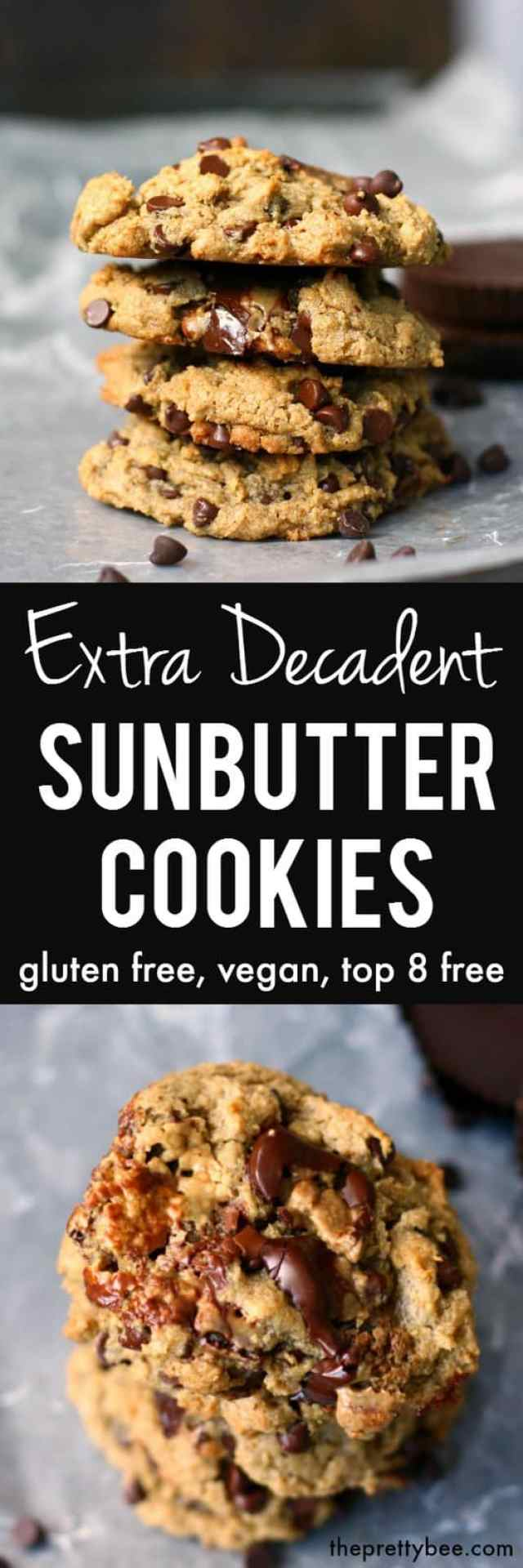 Chewy, gooey, chocolatey and delicious sunbutter cookies are made extra special with the additon of chocolate chips and sun cups.