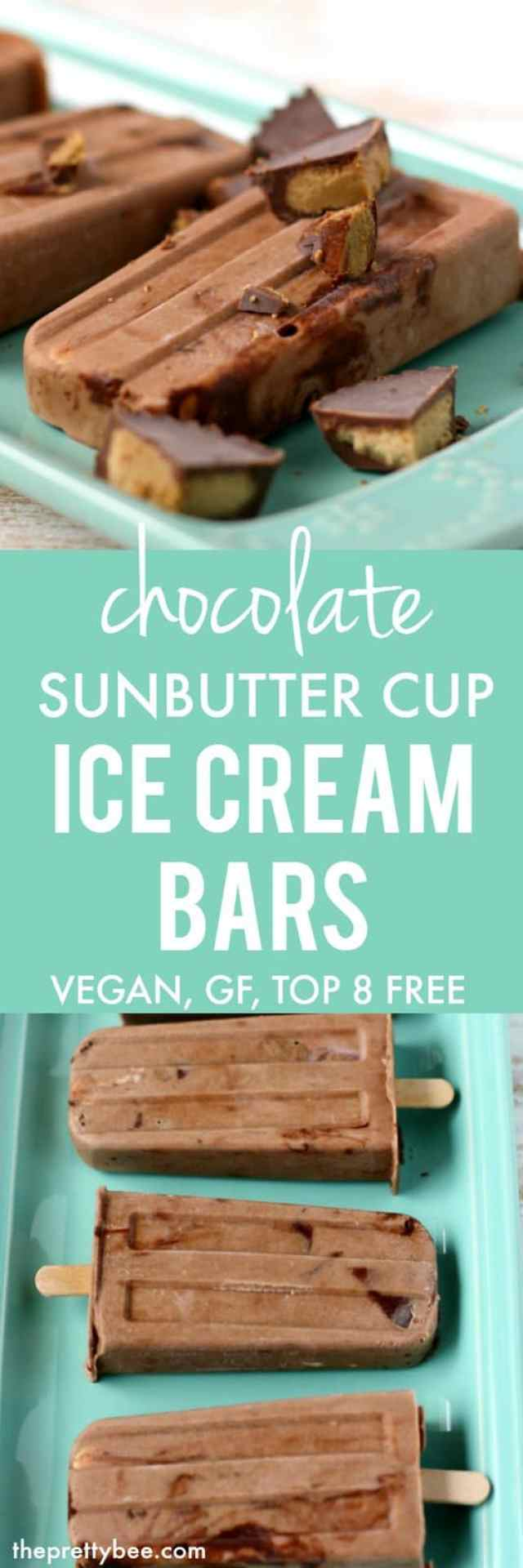 Chocolate sunbutter cup ice cream bars are a delicious allergy friendly treat!