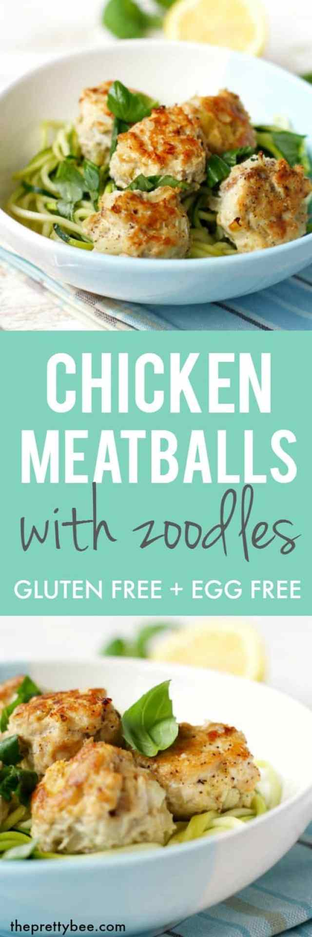 Chicken meatballs and zoodles is a tasty and easy dinner that everyone loves!