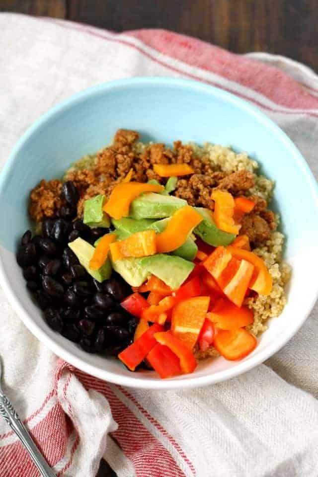 gluten free taco quinoa bowl recipe