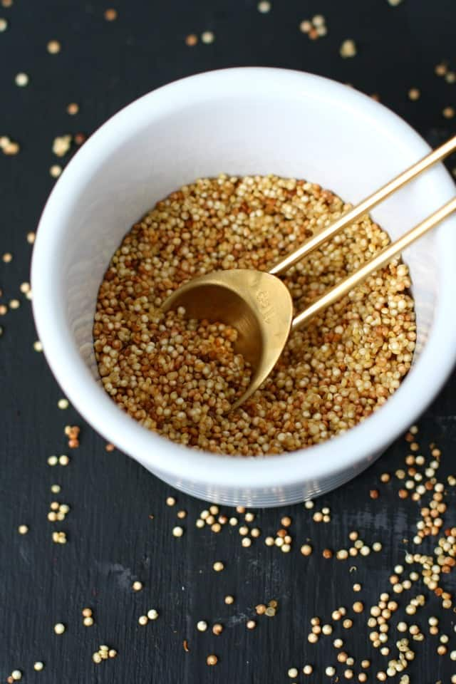 toasted quinoa in a bowl