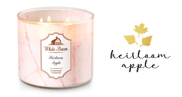 bath and body works, candle, fall candles, best candle, apples, white barn, cozy