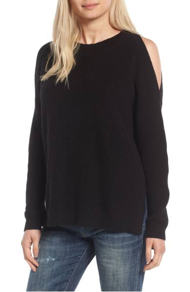 BP cold shoulder tunic sweater
