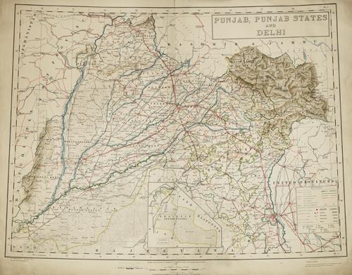 Punjab, Punjab States and Delhi, 1933. Map courtesy of the Royal Geographical Society