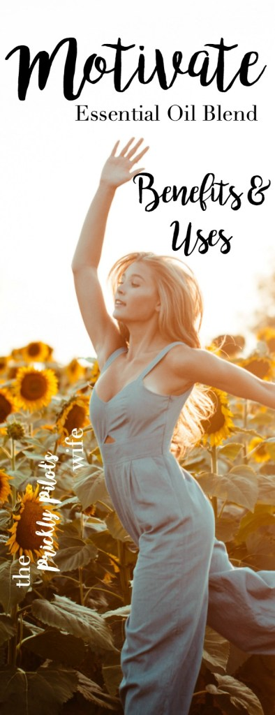 """Image of a woman happily dancing through a field of sunflowers with """"Motivate Essential Oil Blend"""" written over it."""