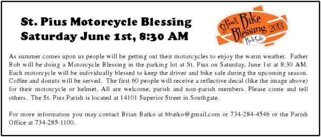 St Pius X Motorcycle Blessing 2013