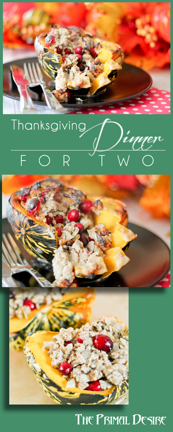 Paleo Thanksgiving for two, get Thanksgiving flavor without all the work of a big meal. Also a great way to use leftover turkey! Gluten- & dairy- free http://theprimaldesire.com/paleo-thanksgiving-for-two/