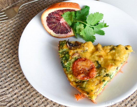 A slice of the Keto Salmon Frittata on a plate.