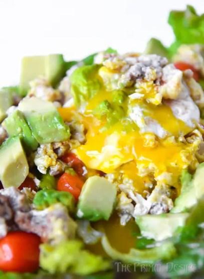 Breakfast salad with yolk porn
