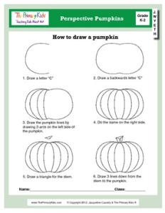 Worksheet on how to draw a pumpkin