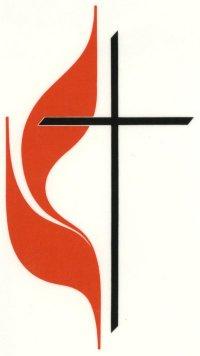 Methodist church logo, flame and cross