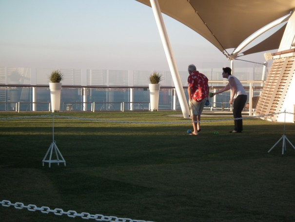 The lawn area of the Celebrity Equinox provides space for lawn games. Such new areas are being installed on the Infinity and Summit. The Eclipse also featured a glass blowing workshop. THE PRIVATEER CLAUSE photo..