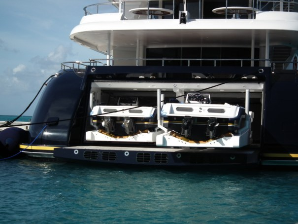 This exclusive yacht is packed with toys and docked at St. Maarten. THE PRIVATEER CLAUSE photo