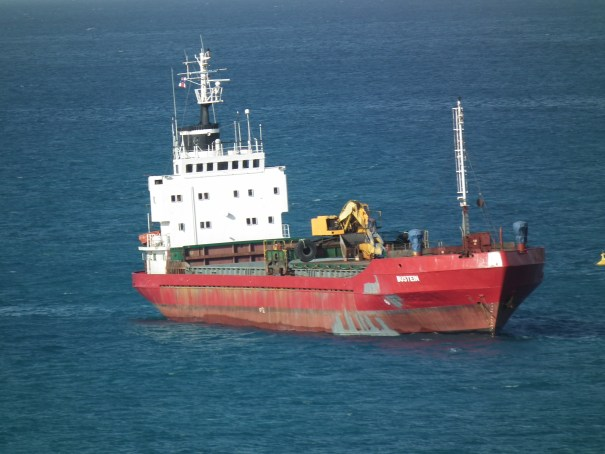 This freighter carrying heavy equipment arrives at St. Maarten. THE PRIVATEER CLAUSE photo