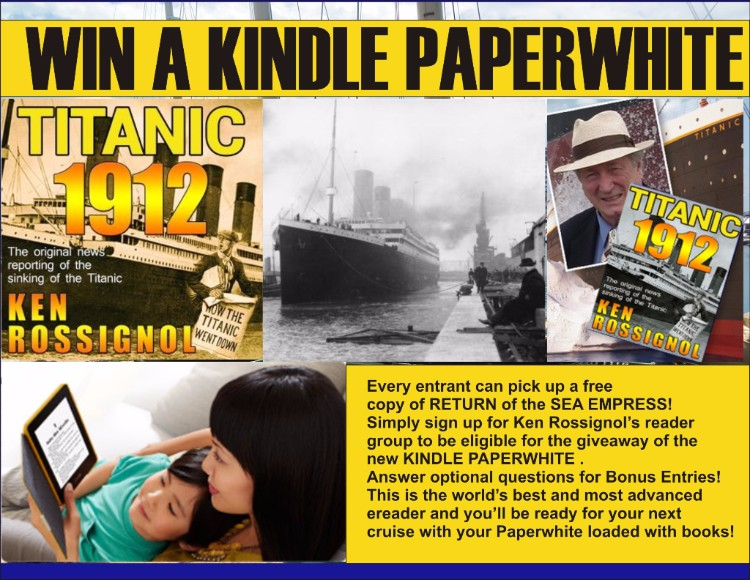 Paperwhite Giveaway notes 104th anniversary of Titanic just 8 weeks after Anthem nearly rolled over with 6,000 souls on board