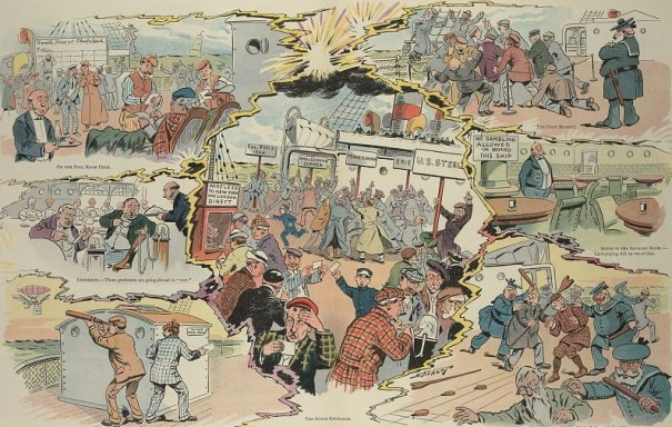 Illustration shows a vignette cartoon of scenes about the activities of stock exchanges and gambling on sporting events on ocean liners once they are equipped for wireless transmission.