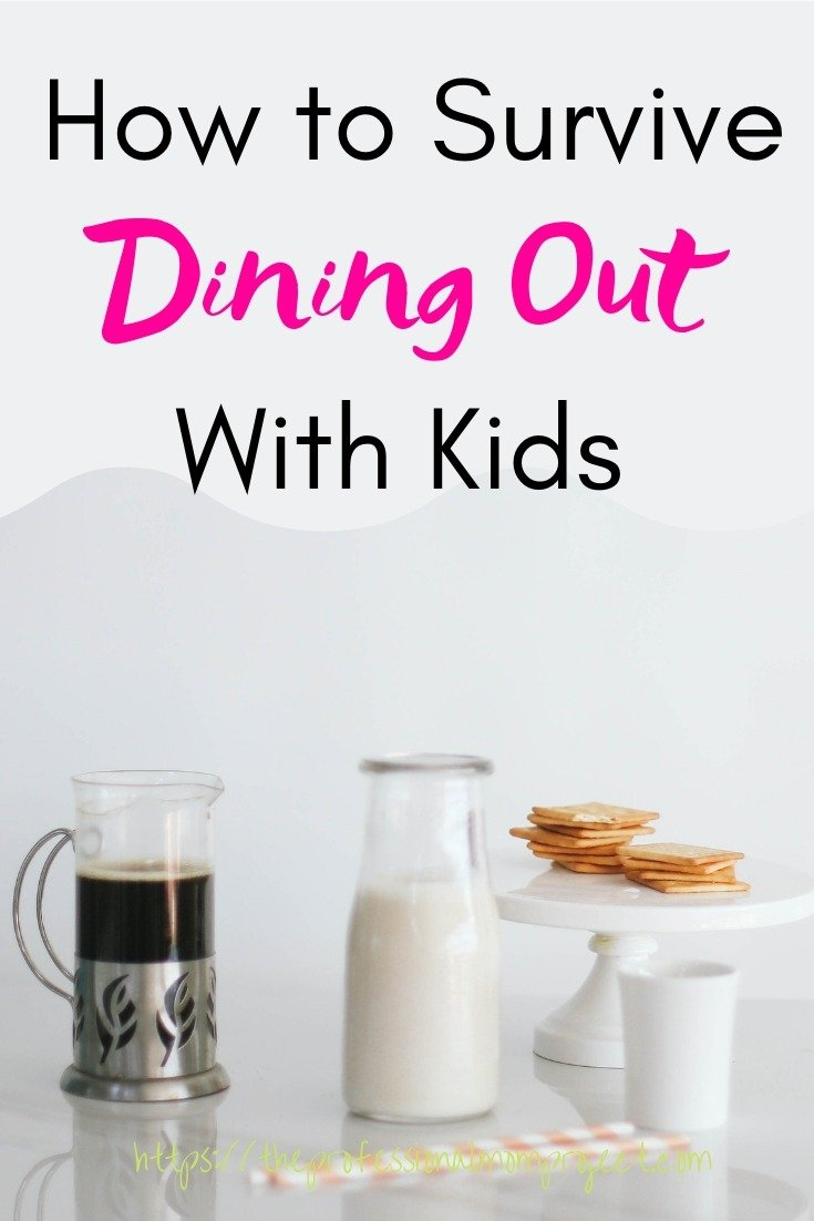 mug of coffee milk and cookies - how to survive dining out with kids