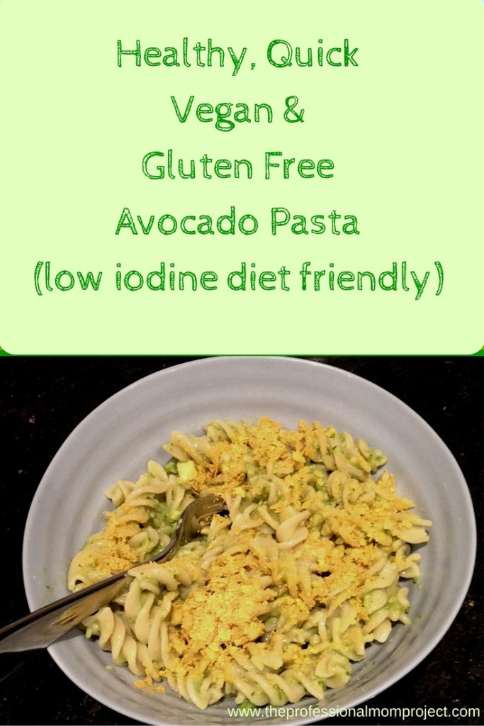 Vegan gluten free quick and easy avocado pasta low iodine diet friendly