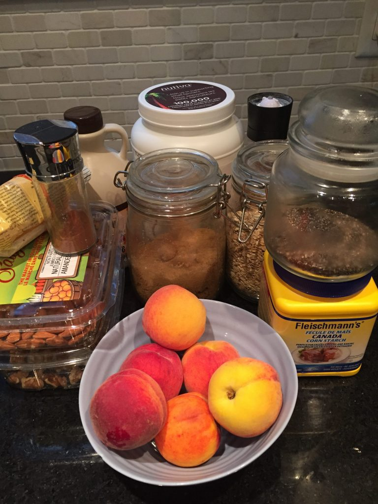 These are the ingredients needed to make the easy vegan gluten free peach crumble which can easily be made low iodine diet friendly from The Professional Mom Project