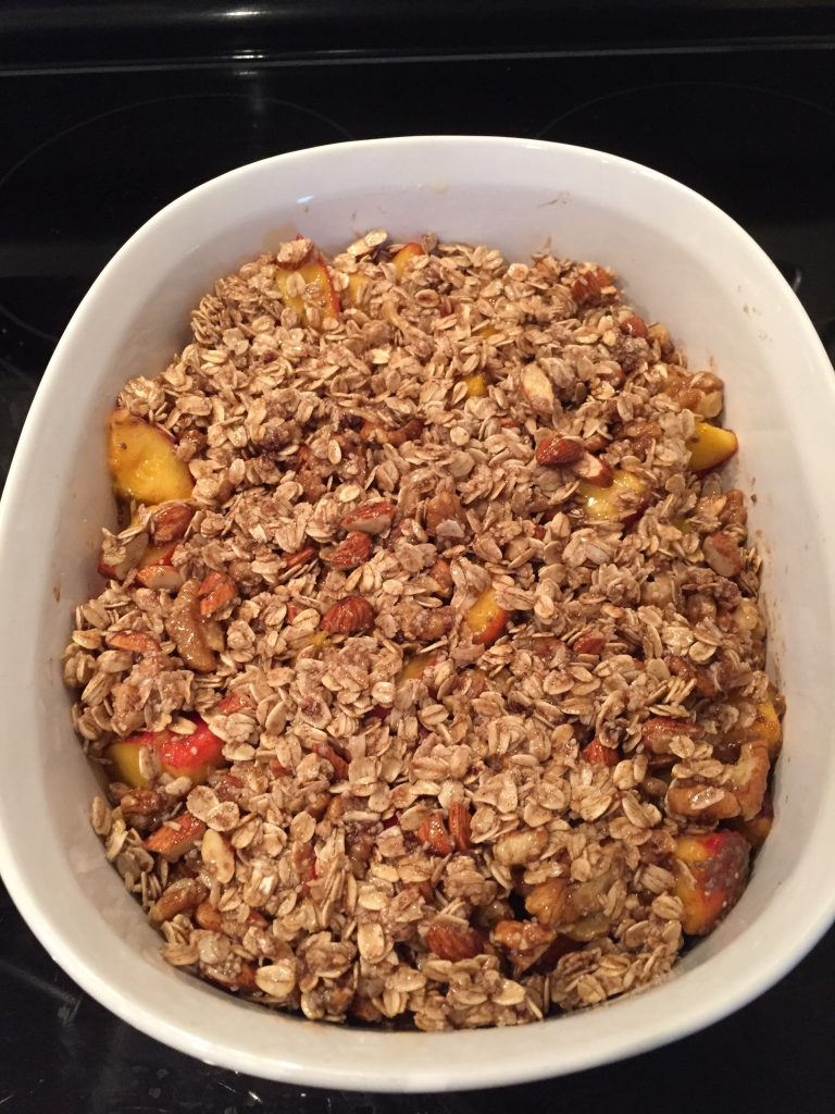 Ready for the oven! Easy Vegan Gluten Free Peach Crumble from The Professional Mom Project