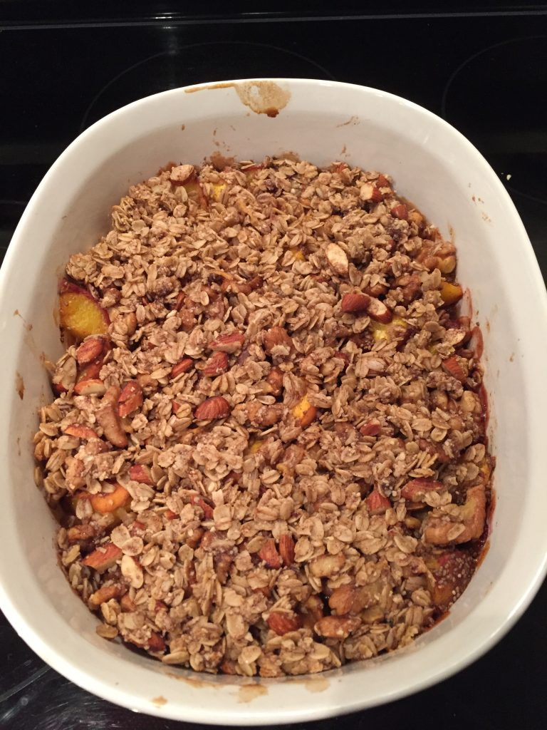 Straight out of the oven! Yummy, healthy and easy to make Vegan Gluten Free Peach Crumble from The Professional Mom Project
