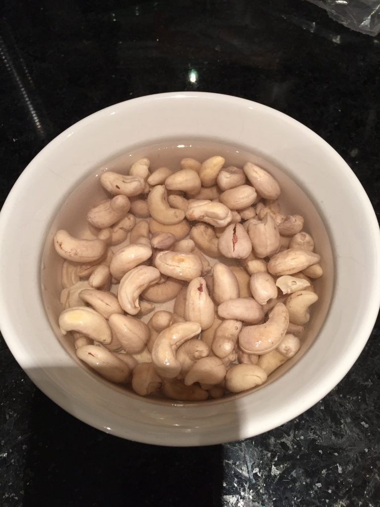 Soak your cashews for at least an hour to make creamy vegan pasta