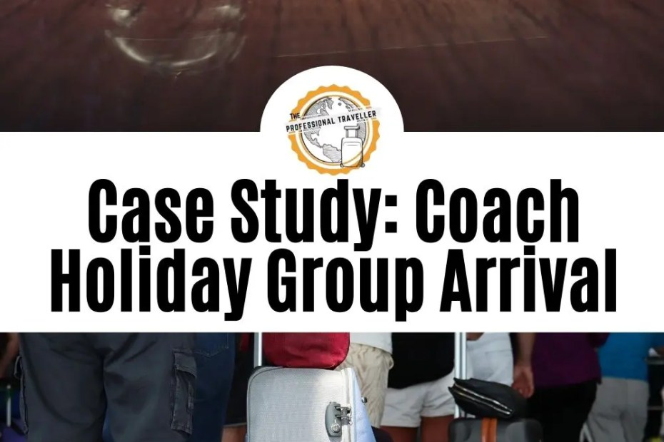 coach holiday group arrival