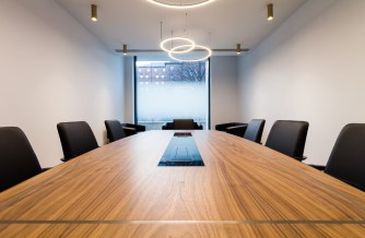 A photo of one of our new Leeds office's client meeting rooms