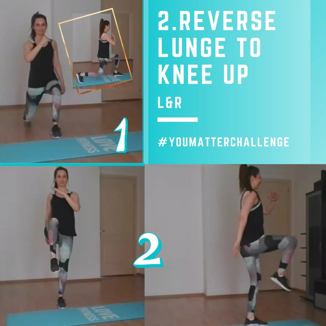 Full Body Workout Exercise 2 Reverse Lunge to Knee Up