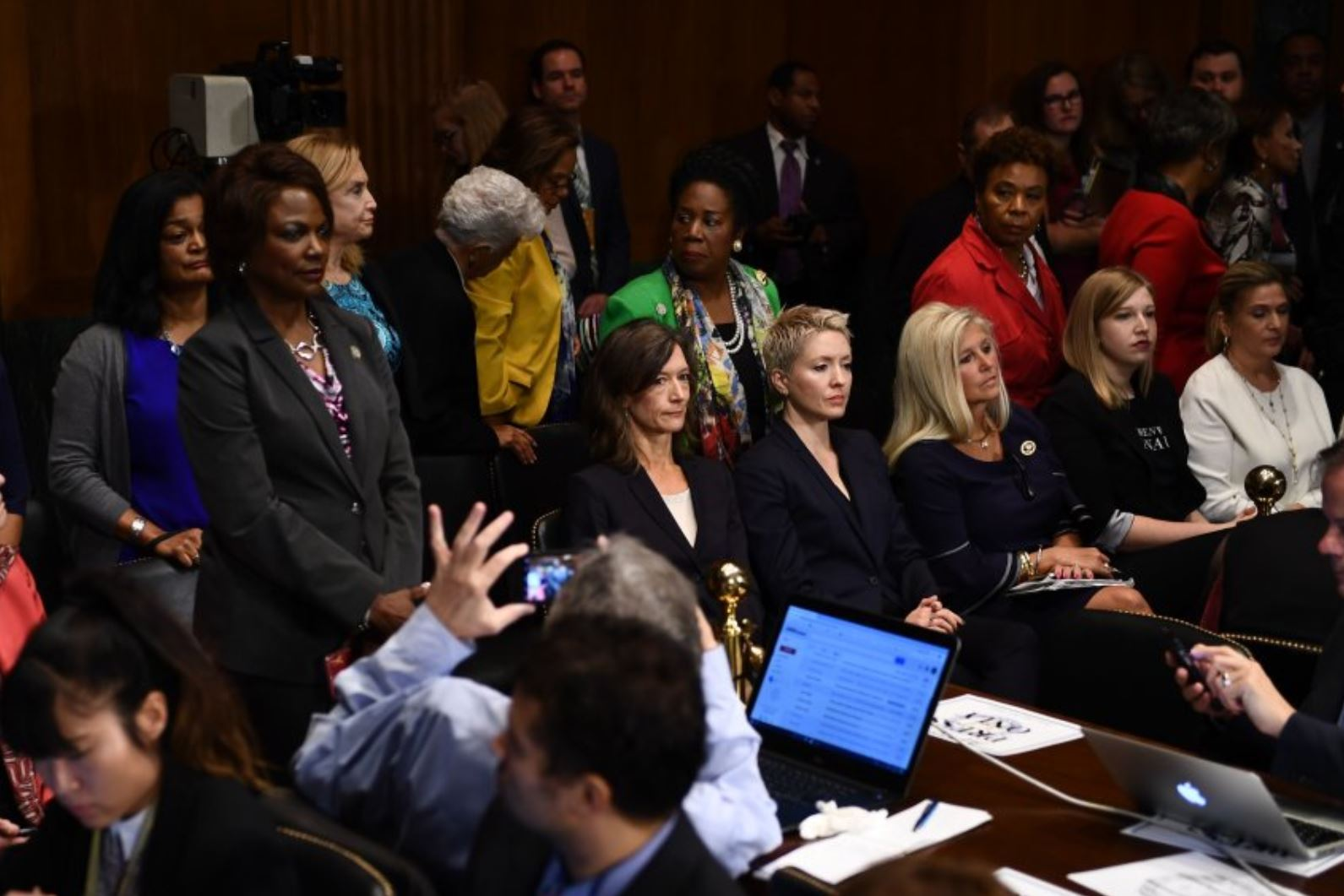 Dem Congressional Members Stand Silently in Protest 2018.JPG
