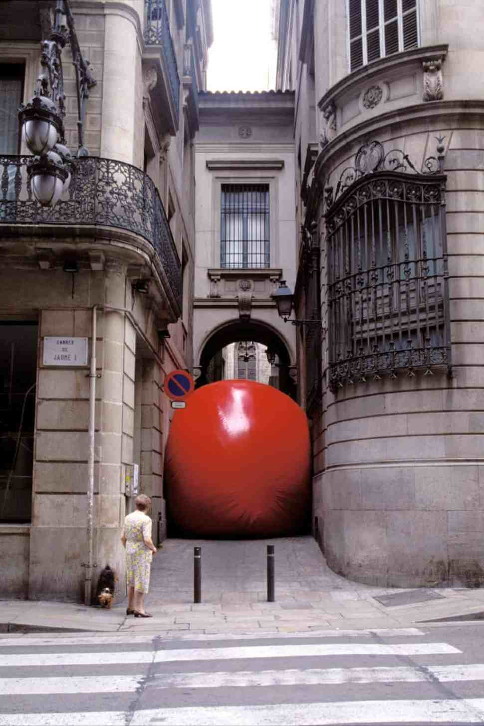 first street art First RedBall Barcelona install, Gothic Quarter. temporary public art,
